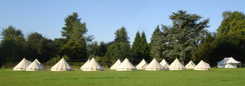 Pop-up bell tent camping villages, temporary tented accommodation, hire tent villages Cotswolds Glos