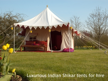Indian fabric tents for hire, ideal wedding tents, WOMAD 2014 festival boutique camping, corporate hospitality Indian marquees for hire