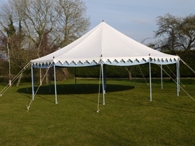 Brand new 30ft round party tent for hire from Malmesbury Marquees in Wiltshire
